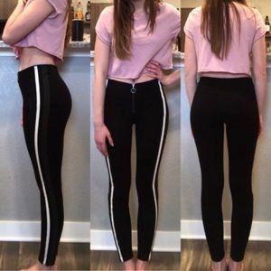Zara Side Striped Zipper Front Pants Size XS